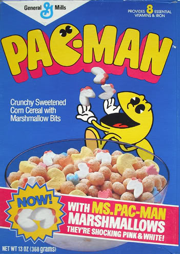Pac-Man Cereal with Ms Pa-cMan *SHOCKING* color combo.