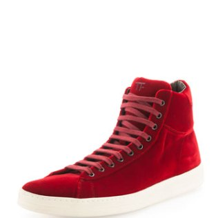 Tom Ford Red Velvet Sneaker