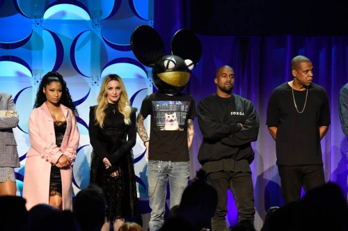 NEW YORK, NY - MARCH 30: Rihanna, Nicki Minaj, Madonna, Deadmau5 and Kanye West attend the Tidal launch event #TIDALforALL at Skylight at Moynihan Station on March 30, 2015 in New York City. (Photo by Kevin Mazur/Getty Images For Roc Nation)