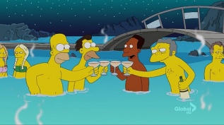 The Simpsons Under an Aurora Borealis Sky